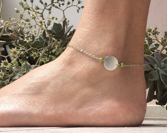 Chain and disc anklet, sterling silver anklet, anklet with howlite beads