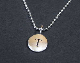 Sterling Silver Letter T Pendant Necklace Disc Charm Necklace