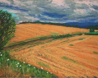 "Original pastel painting ""Harvested"""