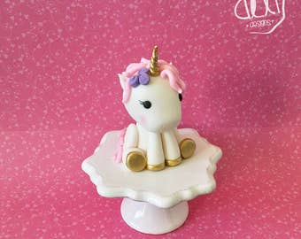 Edible Fondant Baby Unicorn Cake Topper