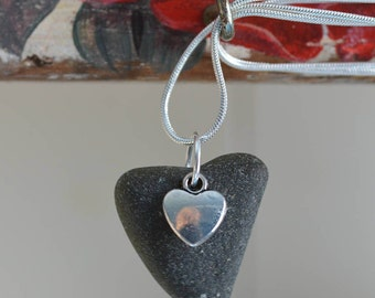 Sea glass heart necklace pendant seaglass necklace jewellery jewelry Celtic Sea Glass Gift for Her Silver plated chain One of a kind 10