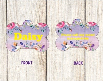 Floral Pet Tag - Custom Pet ID Tag - Bone Dog Tag - Personalized Pet Tag