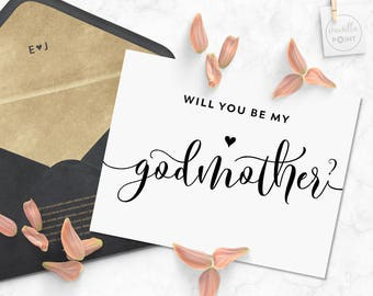 Will You Be My Godmother Card, Printable Baptism Card Christening Baby, Will You Be My Godmother Printable Godmother Card Asking Godparents