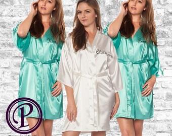 Set of 3; 1 White, 2 Mint Satin Kimono Bridesmaid Robes, Monogrammed Robe, Embroidered Robe, Wedding Day Robe, Robe Sets, Satin Robes