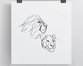 Lion Drawing Etsy Drawing King