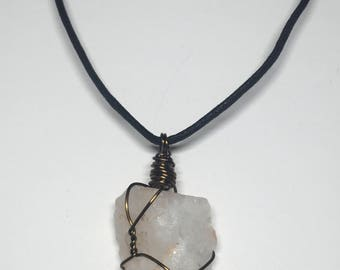 Clear Quartz - Clear Quartz Necklace - 18ga Bronze Wire