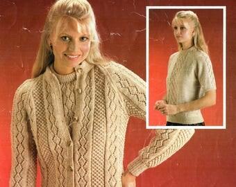 ORIGINAL 70s Ladies Lace Twin Set Knitting Pattern, Bronte 811, Lace Cardigan Patterns, Lace Top Knitting, Sweater Pattern, Lace Knitting