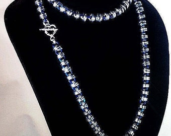 Quorell Necklace in sterling silver with blue accent jump rings