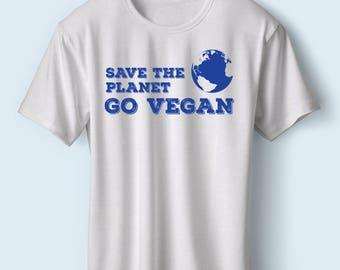Save the Planet Go Vegan TShirt | Vegan Tshirt | Animal Rights TShirt | Environment TShirt