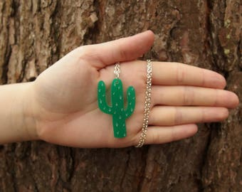 """Green Laser Cut Acrylic Cacti Necklace 20"""" Silver Chain"""