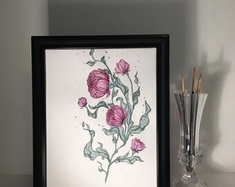 Watercolor Roses, Pink and Wild