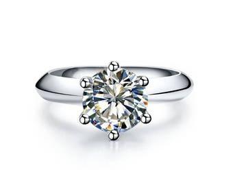 diamond rings for women,Engagement Rings Women,Promise Rings For Her,Moissanite Ring White Gold,moissanite engagement ring round vintage