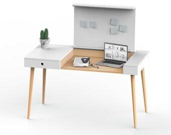 Wooden desk HOMEWORK // work desk, laptop desk, home office, wooden furniture, handmade desk, local production