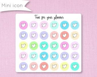 Social Media Planner stickers, Mini pastel Icon, social networks, sticker for agenda