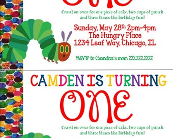 The Very Hungry Caterpillar kids birthday invitation.