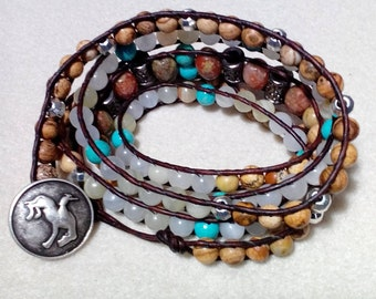 Brown Colored Leather Five Wrap Bracelet