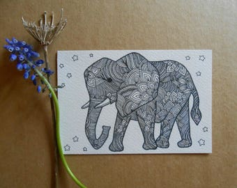 hand drawn elephant illustration - original postcard art - a6 - original art