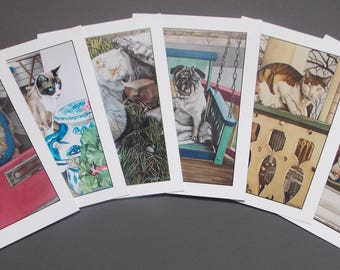 Ocean Grove Cats and Dogs 5 x 7 Note Cards - Variety Pack of 6