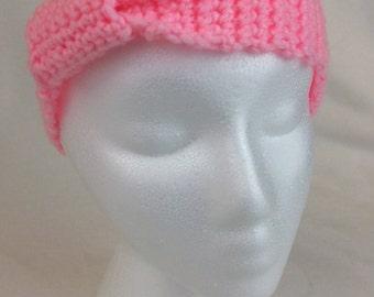 Hand Made Crochet Pink Gathered Ear Warmer/Headband