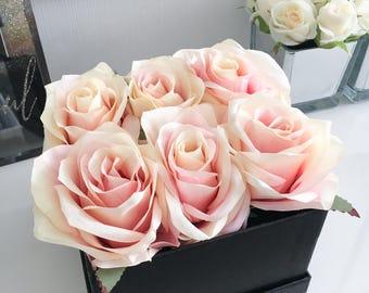 Luxury Flower Box (Blushing) - Pink & Champagne Roses