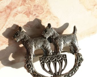 Vintage Scottish terrier marcasite pin   1940's sterling silver and marcasite dog brooch   Scottie dog jewelry   dog lover pin