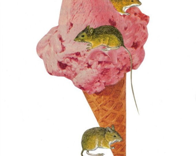 Mice Cream Cone, Weird Thing, Rodent Art Collage