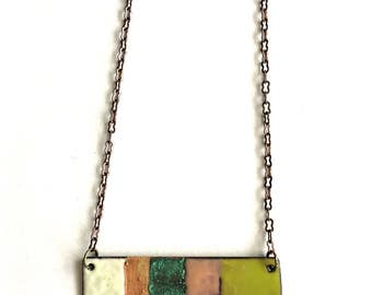 Enamel and Patina Rectangle Necklace
