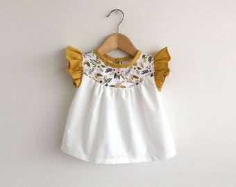girls cotton blouse with pink/gold floral detail