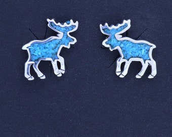 Moose sterling silver 925 Stud Earrings with Turquoise inlay ~ Gift box included