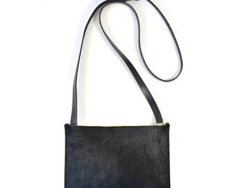 Colette - Handmade Black Hair On Hide & Black Leather Shoulder Bag Purse SS17