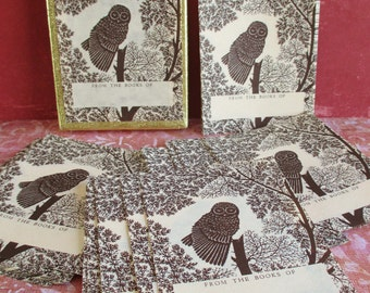Set of 42 Antioch Vintage Owl Decorative Bookplates