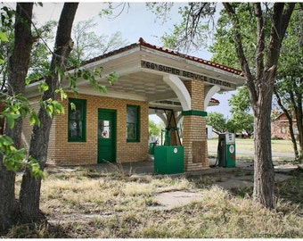 Abandoned Route 66 Texaco Photograph - Roadside America Photo Art - Deserted Texas Filling Station - Retro Photography by Liberty Images