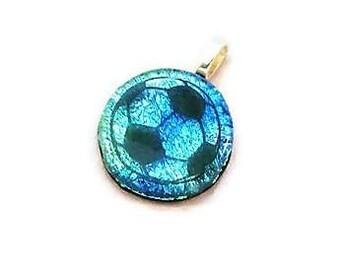 Soccer Ball Necklace, Soccer Necklace, Blue Soccer Ball Charm, Soccer Mom, Soccer Ball Pendant, Soccer Gift, Girls Soccer Gift