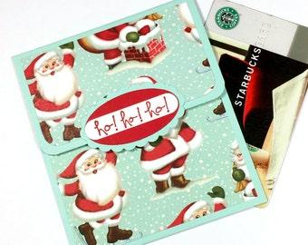 Christmas Gift Card Holder - Vintage Santa Christmas Money Card - Christmas Tip Card, Holiday Bonus Envelope - Ho, Ho, Ho