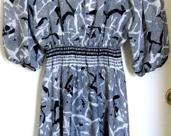 Sale- Diane Fres Dress - Vintage Black and White Georgette - Original Diane Fres. 1980s - Costuming
