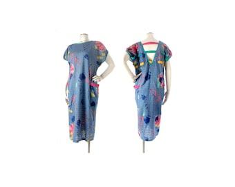 Vintage 80s Dress - 80s Backless Dress - Memphis Group - Sottsass - 80s Abstract Dress - 80s New Wave Dress - Blue Pink Yellow - Splatter