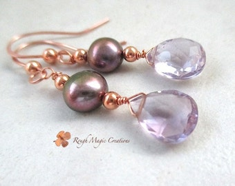 Pink Amethyst Stone Earrings, February Birthstone, Purple Iris Freshwater Pearls, Copper Beaded Dangles, Semi Precious Gemstone,