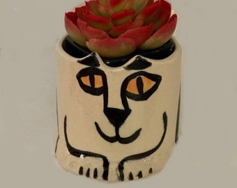 Cat planter pot vase: kitty lover Gift whimsical ceramic feline hand made pet loss memorial stoneware happy smiling desk cat