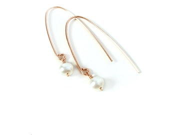 Rose Gold Earrings, White Pearl, Freshwater Pearl Earrings, Modern, Minimalist, Dangle, Wedding, Delicate, Gift for Her, Valentines Day
