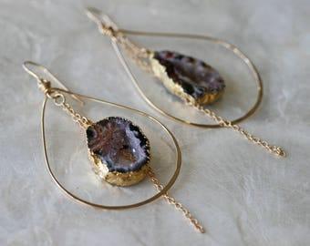 Druzy Earrings, Geode Earrings, Hoop Earrings, Blush Pink Earrings, Hammered Hoop Earrings, Occo Agate Earrings, Gold Dipped Jewelry