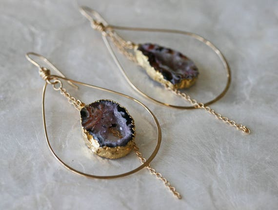 Druzy Earrings, Geode Earrings, Hoop Earrings, Blush Pink Earrings, Hammered Hoop Earrings, Occo Agate Earrings, Gold Dipped Jewelry