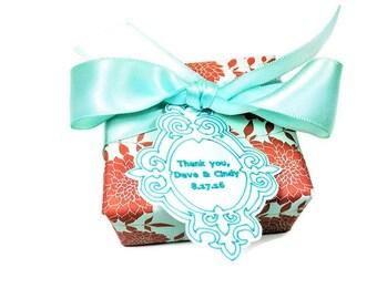 SOAP FAVORS, Wedding favors, engagement favors, bridal shower favors, bridesmaid gifts, mint- orange favors, custom favors, party favors,