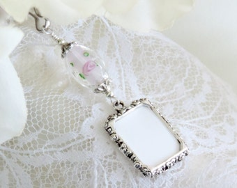 Wedding bouquet photo charm with one or 2 sided picture frame. Memorial photo charm with lamp work bead. Bridal shower Gift for the bride.