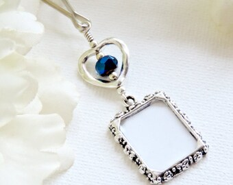 Wedding bouquet photo charm with dark blue crystal and small heart.Memorial photo charm. Something blue. Bridal shower gift for the bride.