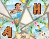 16 Moana Birthday Party Banner, Moana Party Banner, Moana Printable Banner, Moana Party Supplies, Princess Moana, Moana art, Moana Bunting