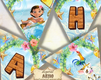 16 Moana Birthday Party Banner, Moana Party Banner, Moana Printable Banner, Moana Party Supplies, Princess Moana, Moana art, Moana Bunting