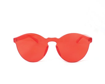 Crystal CLEAR CHERRY RED Sunglasses By Kokorokoko Frameless Tinted
