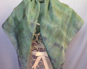 Green Square Scarf, silk scarf, silk square scarf, green scarf, handpainted scarf, hand painted silk, green, jade, emerald, navy blue, S553