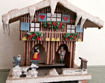 Vintage German Weather House, Toggili Chalet, Frosted Roof, Thermometer and Barometer, Woodland Decorative, Made in Germany, SMALL Toggili