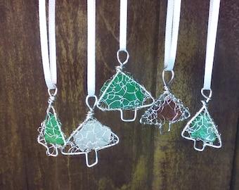 Christmas tree ornament with Lake Michigan beach glass